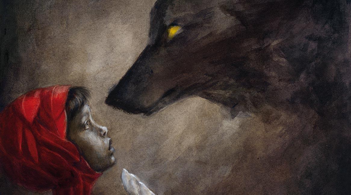 Ilustración de Caperuza con el lobo feroz