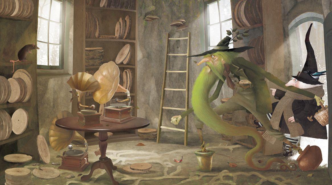 Ilustración de la novela de Iban Barrenetxea, Brujarella y la diva