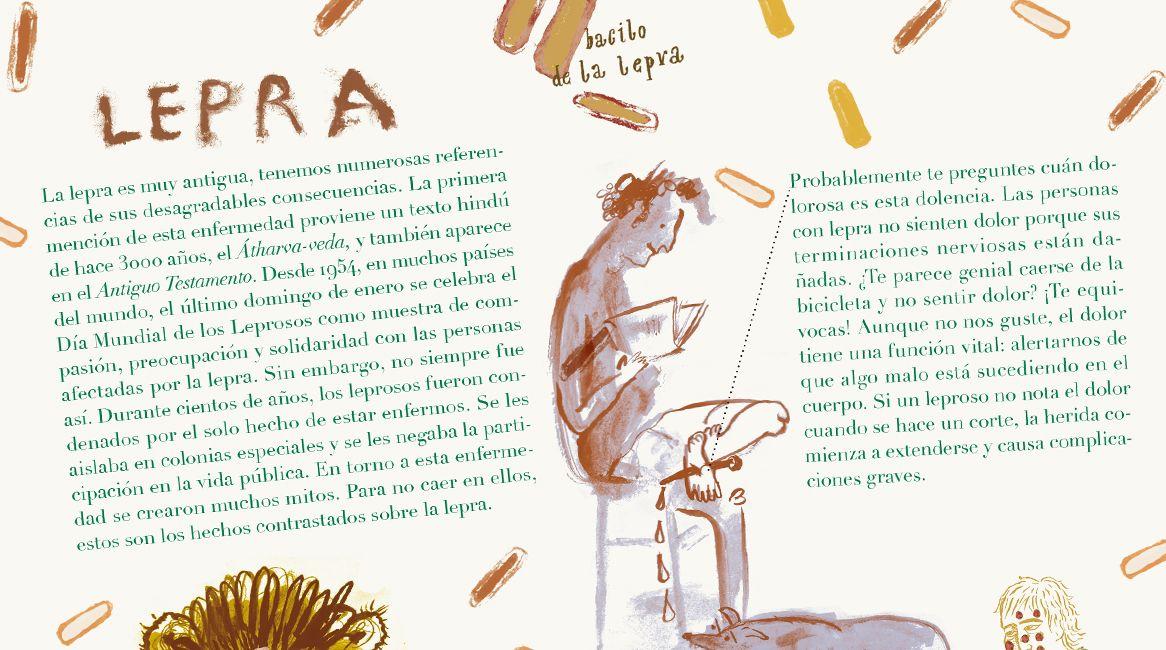 Interior del libro ilustrado de Tomek Żarnecki y Gosia Kulik, Pandemias