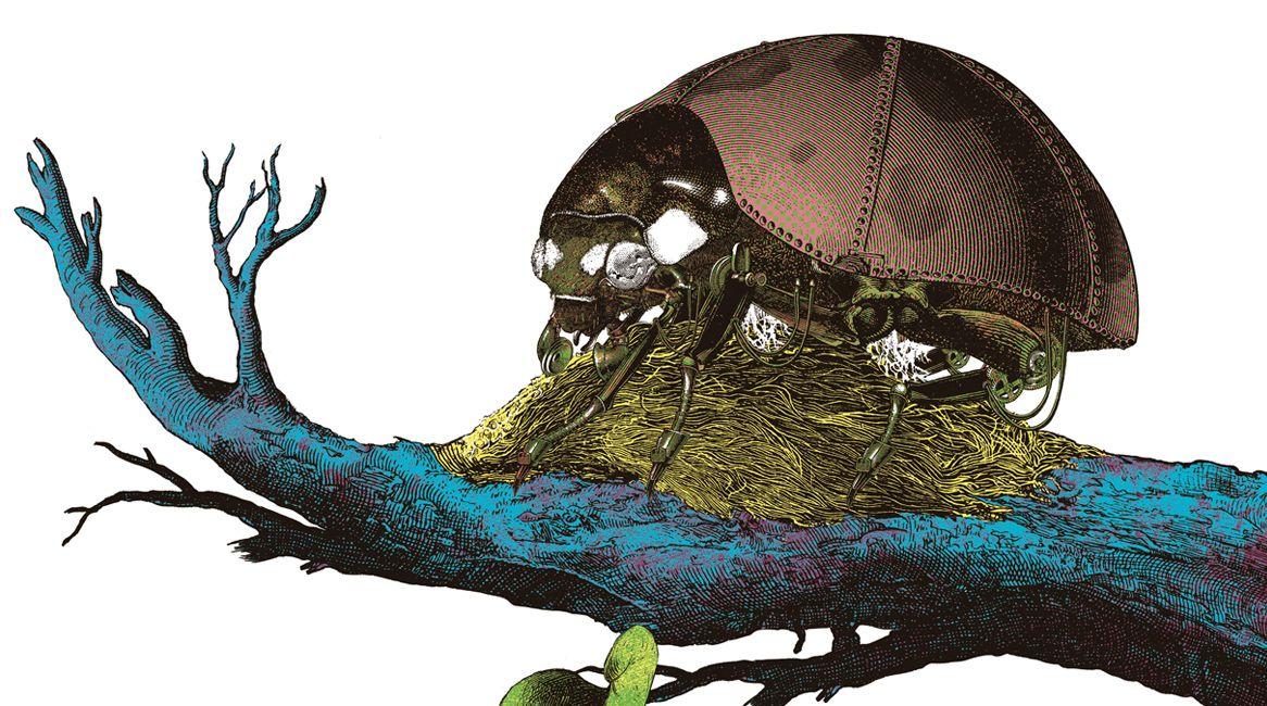 Ilustración interior del libro Los devoradores de mentes.