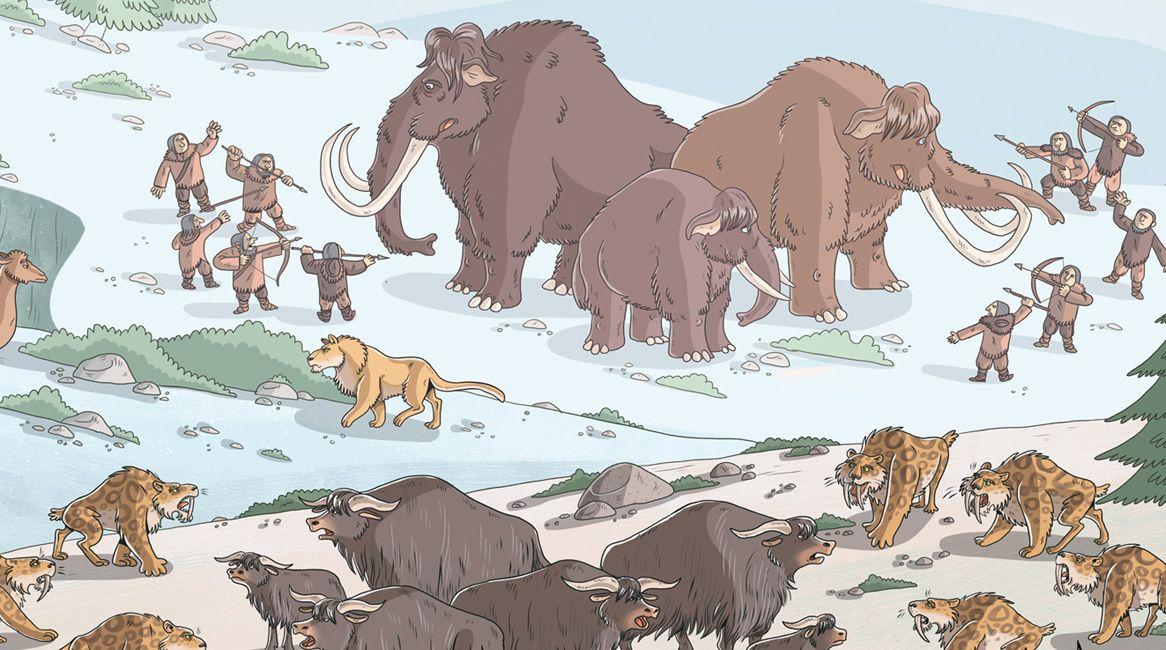 Ilustración del libro Atlas de las criaturas extintas.